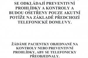 Omezení provozu ambulancí - MUDr. Kostková, MUDr. Štork
