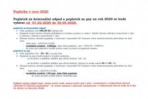 Poplatky v roce 2020