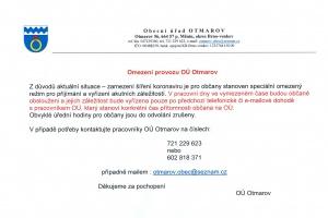 Omezení provozu OÚ Otmarov