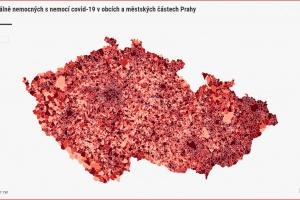 Vývoj aktuálně nemocných s nemocí covid-19 v obcích a městských částech Prahy