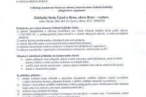 Konkurz na vedoucí pracovní místo ředitele/ředitelky p. o. ZŠ Újezd u Brna