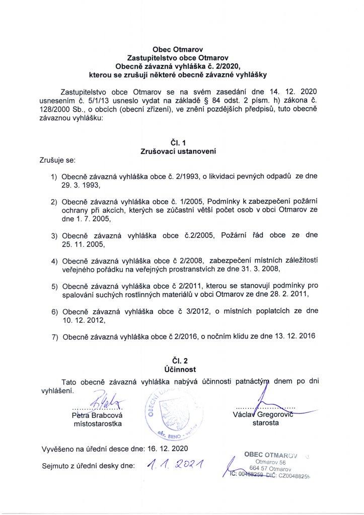 OZV č. 2.2020 - zrušovací vyhláška