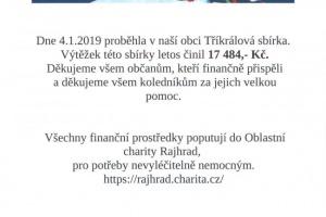 Výsledek Tříkrálové sbírky v naší obci, konané 4.1.2020