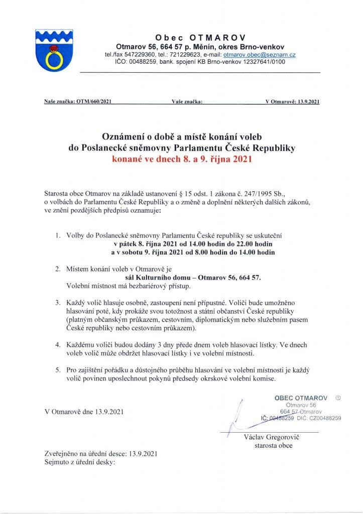 Oznámení o době a místě konání voleb do PS Parlamentu ČR 2021