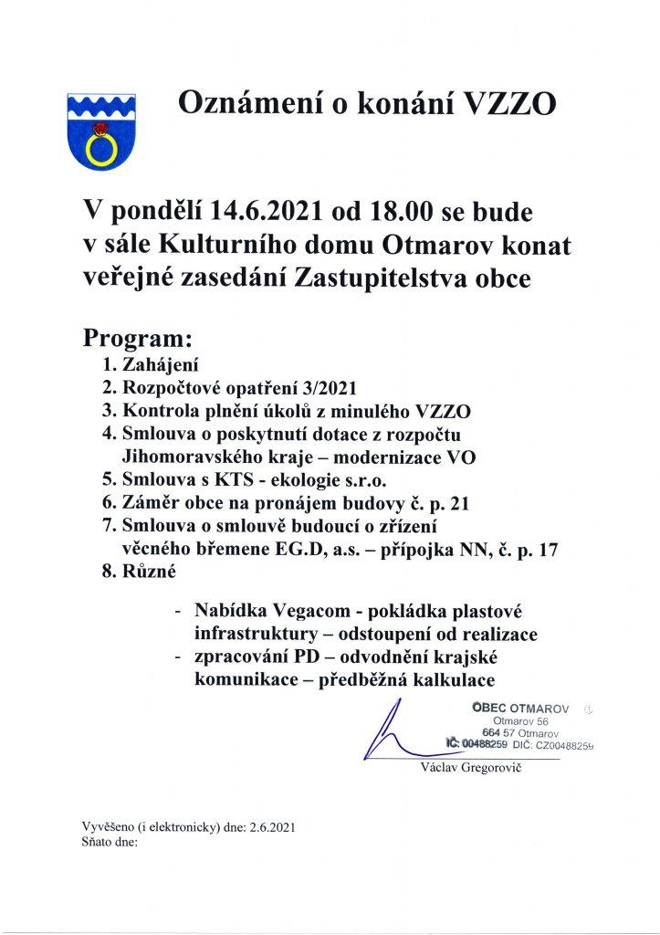 Oznámení VZZO 14.6.2021