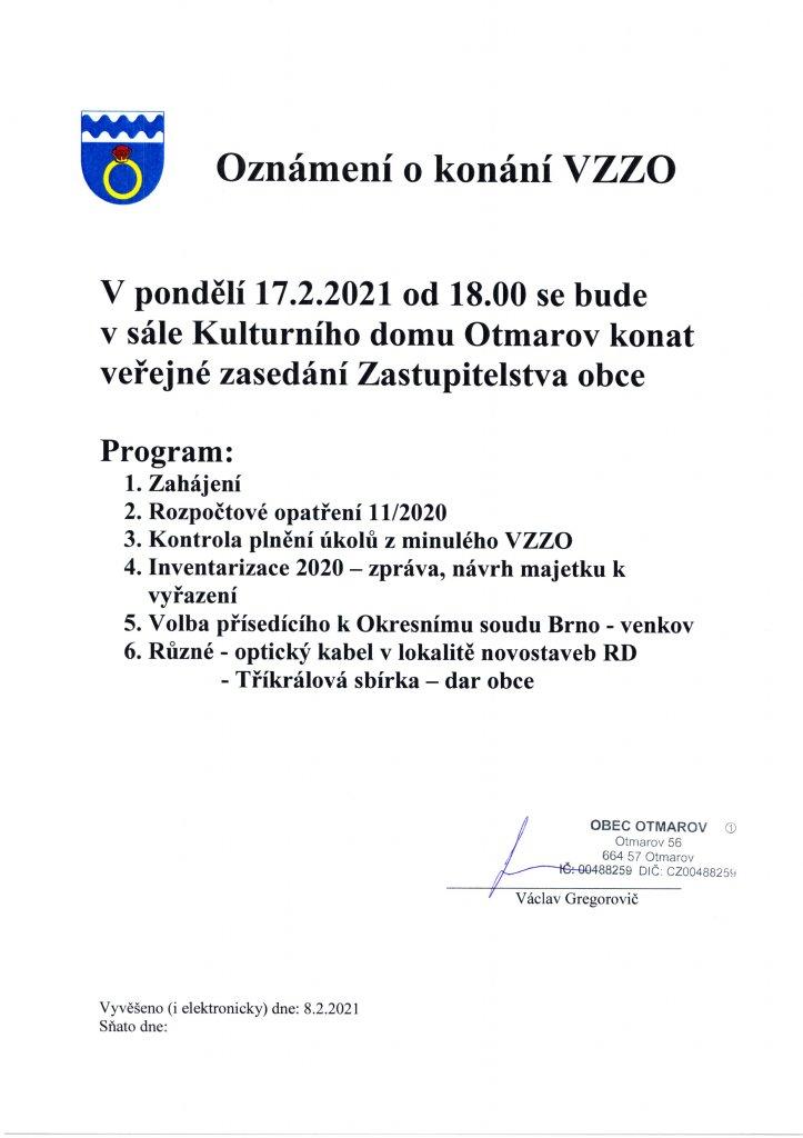 Oznámení VZZO 17.2.2021