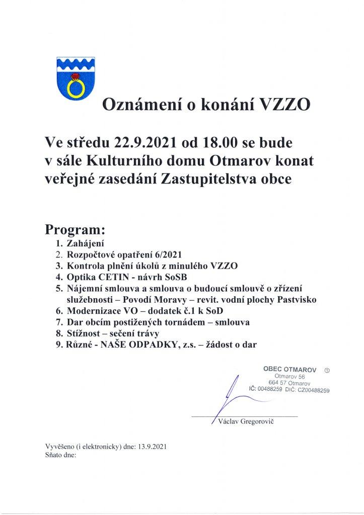 Oznámení VZZO 22.9.2021