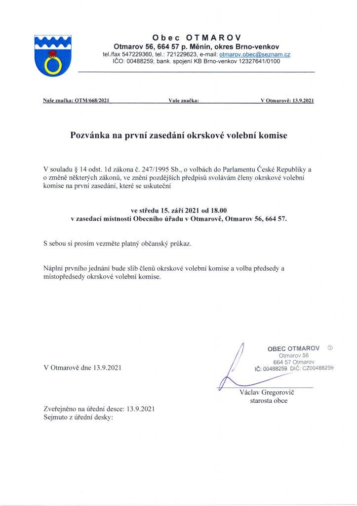 Pozvánka na první zasedání okrskové volební komise - volby  2021