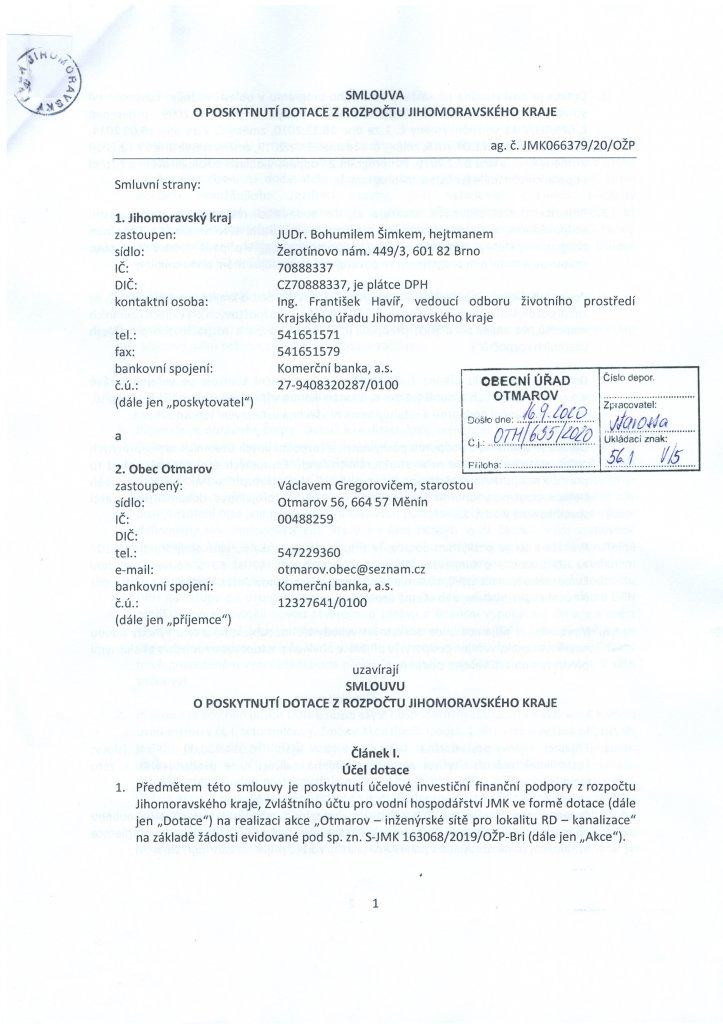 Smlouva dotace - kanalizace (1)