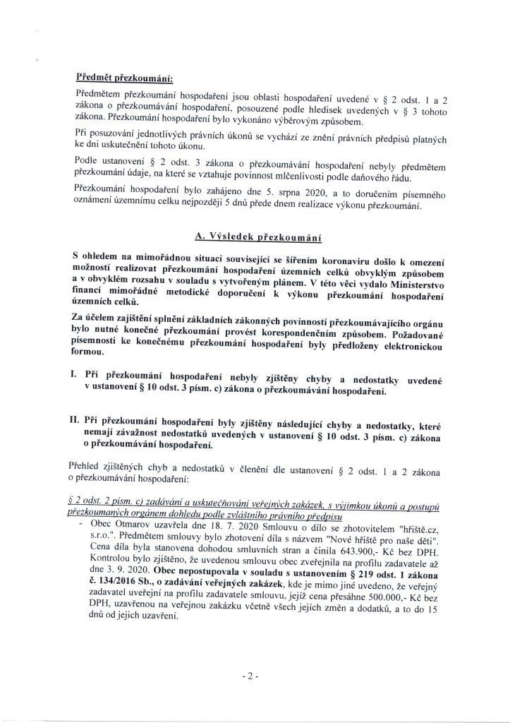Zpráva o výsledku přezkoumání 2020 (2)